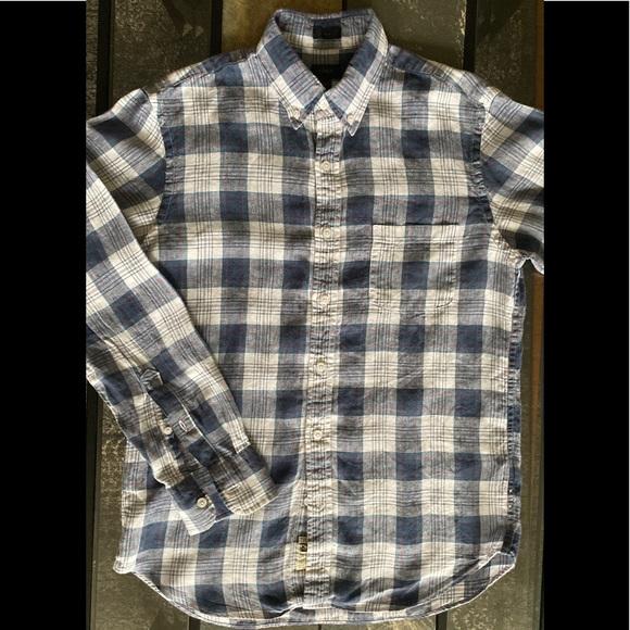J. Crew Linen Flannel Shirt Large Slim Fit J Crew